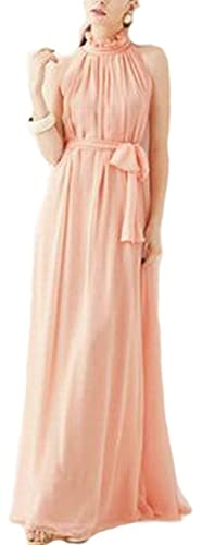 VSVO Women Halter Neck Sleeveless Chiffon Maxi Dresses