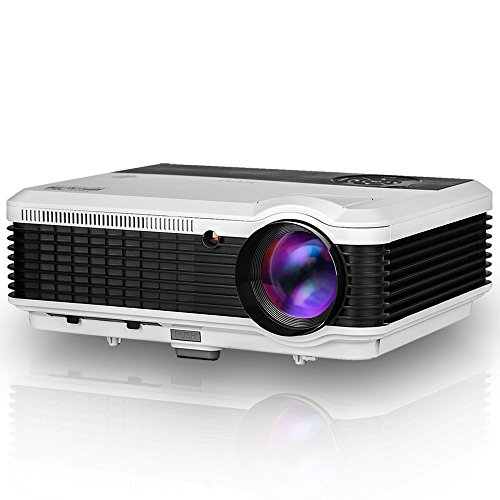 LED Video Projector Portable LCD Projector 3600 Lumens Multimedia Home Theater Digital Projector Support Full HD 1080P HDMI USB VGA AV for Home Cinema TV Laptop Movie Game iPhone Andriod Smartphone by EUG