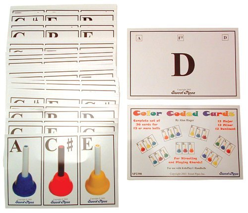 Set of 36 Color Coded Chord Cards (for use with Kidsplay Kid's Handbells) by Sweet Pipes