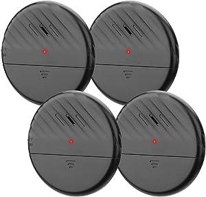 Wsdcam Window Alarm Glass Break Sensor Alarm 125dB Ultra-Slim Wireless Glass Break Detector Anti-Theft Vibration Sensor Alarm for Home Door and Window Security - 4 Pack - Black
