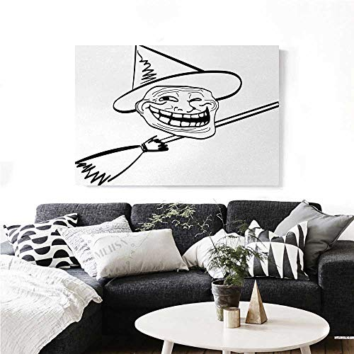 Humor Wall Paintings Halloween Spirit Themed Witch Guy Meme LOL Joy Spooky Avatar Artful Image Print Print On Canvas for Wall Decor 32