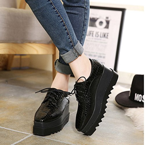 Btrada Nero Zeppa Tacco Alto Scarpe Casual Piattaforma Di Fondo Spessa Per Le Donne Lace Up Moda Camminando Sneaker Nero