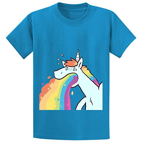 Andy Rainbow Unicorn Cute Kid's Crew Neck Cotton T Shirts Blue (Minon Cake)