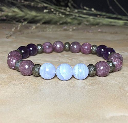 Womens Stress Relieving 8mm Blue Lace Agate Bracelet, Lepidolite Bracelet, Amethyst Bracelet, Anxiety Relieve, Calming Bracelet,Smooth energy flow