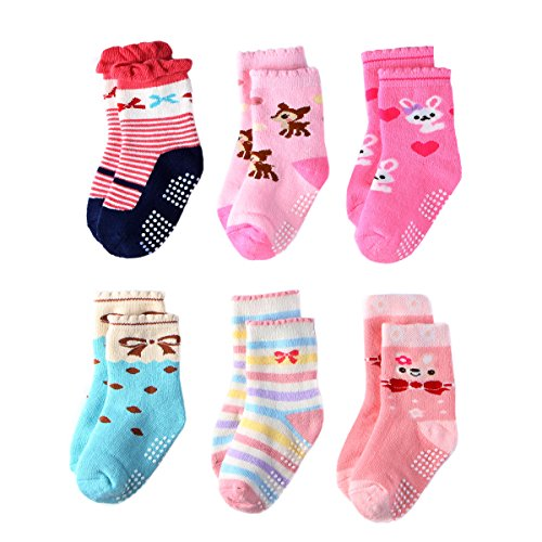 y Girls - 6/12 Pairs Thick 100% Cotton - Toddler Girls Kids Socks Non Slip/Anti Skid (6 Colors, 3-5 Years) ()