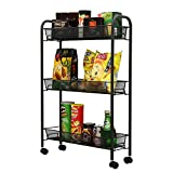 1208S 3-Tier Wire Mesh Rolling Kitchen Cart with Metal Handle and wheels for Serving Utility Organization Flexible Moving Storage Rack(Dark Grey)
