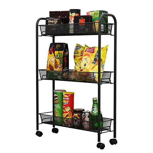 1208S 3-Tier Wire Mesh Rolling Kitchen Cart with Metal Handle and wheels for Serving Utility Organization Flexible Moving Storage Rack( Dark Grey )