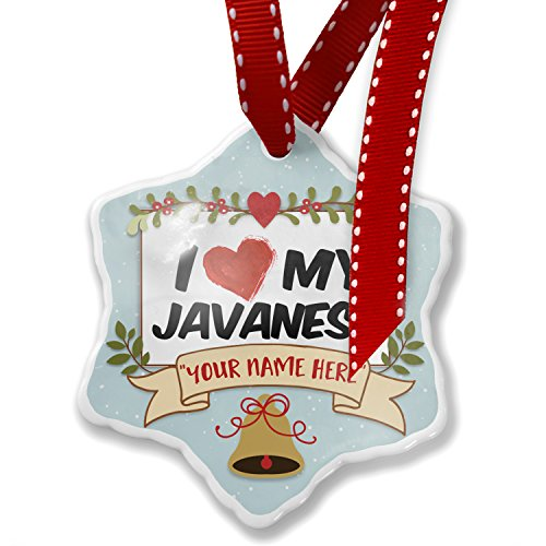 Add Your Own Custom Name, I Love my Javanese Cat from Indonesia Christmas Ornament NEONBLOND by NEONBLOND