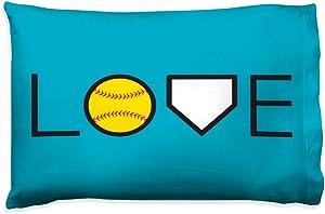 Love Pillowcase | Softball Pillows by ChalkTalk Sports | Teal