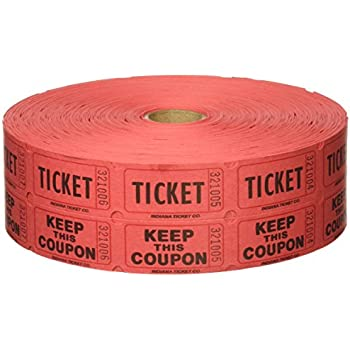 Amazon.Com : Red Double Raffle Ticket Roll, 2000/Roll : Office