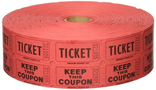 Red Double Raffle Ticket Roll, 2000/roll -