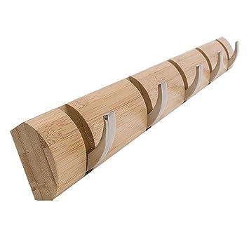 HM Perchero Plegable de Pared, Perchero de bambú Que Ahorra Espacio con 8 Ganchos retráctiles 24.0 * 1.1 * 3.1in: Amazon.es: Hogar