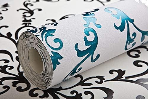 Papier peint baroque EDEM 85026BR25 papier peint vinyle lisse avec des ornements et des accents m/étalliques blanc turquoise gentiane nacr/é argent 5,33 m2
