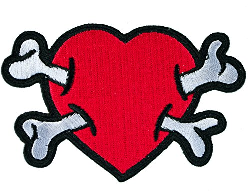 Red Heart Pierced by Crossbones Biker Iron on Embroidered Patch (Crossbones Heart)