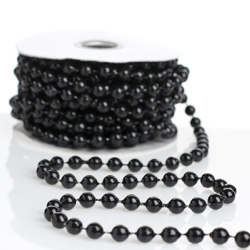 Holiday Accents 8mm Shiny Black Bead Garland on Spools (3 Spools - 72 Feet Total) for Wedding Favors, Crafts, Decorations & More