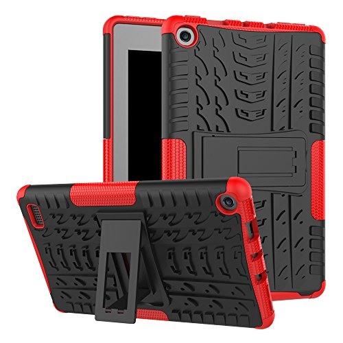 GreenElec Fire 7 2017 Tablet Case - Dual Layer Hard PC & Soft TPU Hybrid Armor Protective [Stand Function] Anti-Slip Cover for Kindle Fire 7 (2017) Tablet (Black+Red)