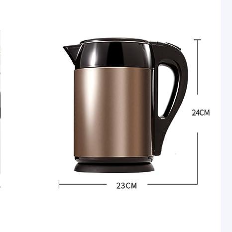 Hervidor CAIXIA Agua Pot Kettle Brown Acero Inoxidable 1500W 1.5L Automático Aislamiento Automático Apagado Anti