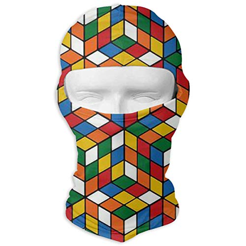 Wind-Resistant Balaclava, Rubiks Cube Ski Mask for Snowboarding White -