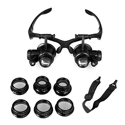 Magnifying Glass 10X 15X 20X 25X Eye Jewelry Watch Repair Magnifier Loupe With 2 LED (Eye Care Station)