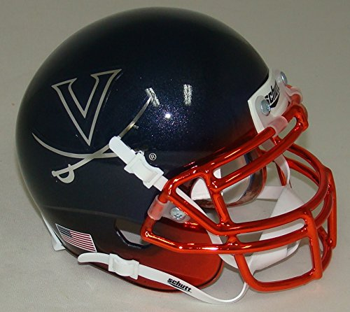 Virginia Cavaliers Alternate Navy Chrome Schutt Authentic Mini Helmet (Virginia Mini Authentic Helmet Cavaliers)