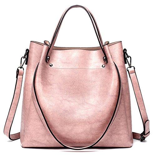 Bolso de cuero de las mujeres 2018 nuevo bolso de la bolsa de mensajero de bill of Lading Messenger Bag, marrón de moda casual clásica Pink