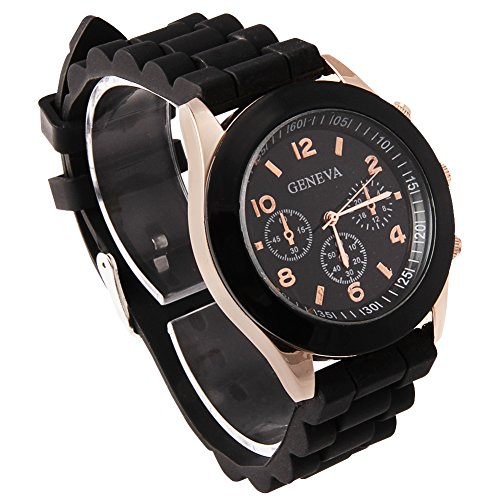 (GENORTH Popular Candy-colored Geneva Silicone Colorful couple of style quartz watches Cheap Gift (Black))