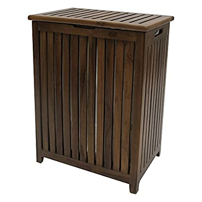 Redmon Teak Collection Laundry-Bags - This vanity Hamper is made with genuine teak wood, one of the most beautiful, durable and long lasting woods known to man Built with style, function, and durability in mind Can be used indoor or outdoor - spa, shower, bath, deck - laundry-room, hampers-baskets, entryway-laundry-room - 51k%2BGsticRL. SS400  -