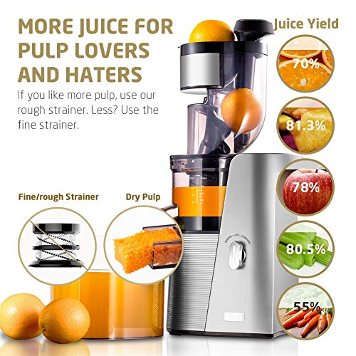 SKG A10 Cold Press Juicer High Yield Juice Extractor, Quiet Anti-Oxidation Easy to Clean 36 RPM 250W...
