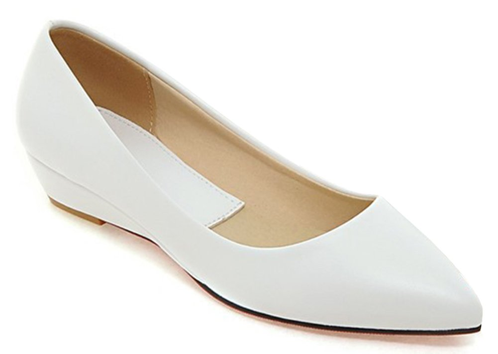 IDIFU Women's Comfy Pointy Toe Wedge Low Heels Low Top Slip On Pumps Shoes White 7.5 B(M) US