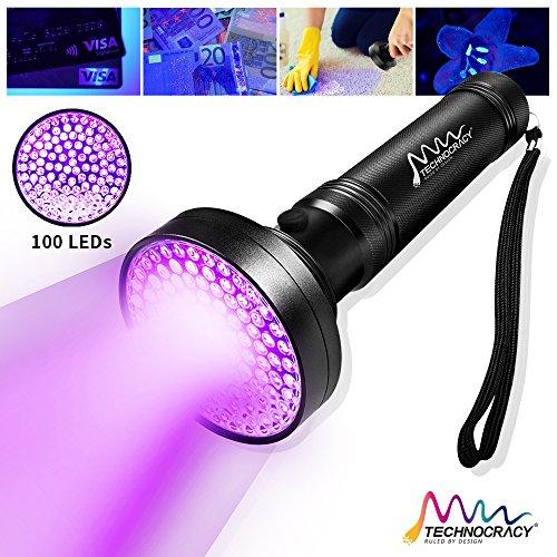 TECHNOCRACY UV Black light Flashlight,100 LED 395 nm Ultraviolet Blacklight Detector for Dog Urine,Hotel Rooms,Pet Stains and Bed (100 Led Aluminum Flashlight)