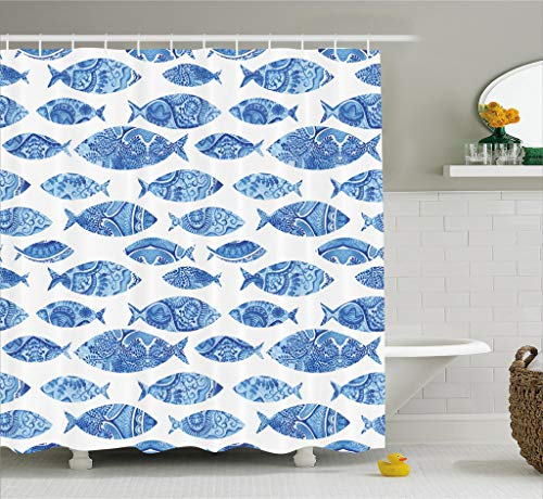 Ambesonne Ocean Animal Decor Shower Curtain, Fish Figures with Ancient Ottoman Ornate Mosaic Hand Drawn Marine Artwork, Fabric Bathroom Decor Set with Hooks, 70 Inches, Blue