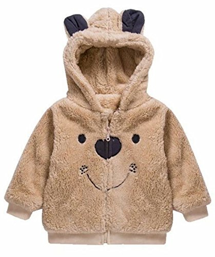 EGELEXY Toddler Kids Boys Cute Bear Style Winter Fleece Hooded Outfit Outerwear Jacket Size 18-24 Months/Tag100 (Khaki)