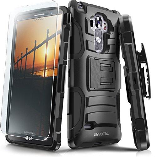Evocel LG G Vista 2 Case [Generation Series] Rugged Holster [Kickstand & Belt Swivel Clip] + HD Screen Protector For LG G Vista 2 (2015 Release), Black (EVO-LGV2-AB201)