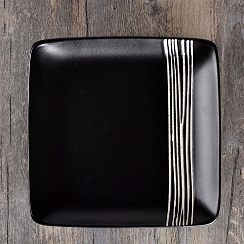 UUOUU Ceramic Steak Plates 8 inch Black Restaurant Dishes Western-style Square Dinner Plate Stripe (Black Stripe Dinner Plates)