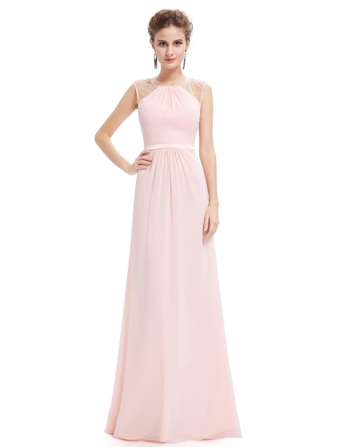 Ever-Pretty Womens Floor Length Long Chiffon Prom Dress 6 US Pink
