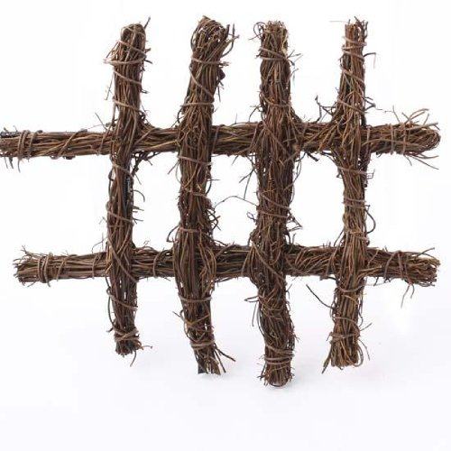 Natural Twig Woven Fairy Garden Fence Pieces- 4 Sections