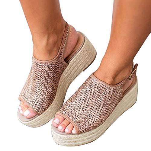 Athlefit Women's Espadrille Wedge Sandals Braided Jute Ankle Buckle Platform Sandals Size 9.5 Oatmeal