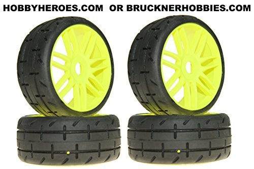 (GRP GT TREADED Tires (4) on new YELLOW rims S3 - SOFT Compound)