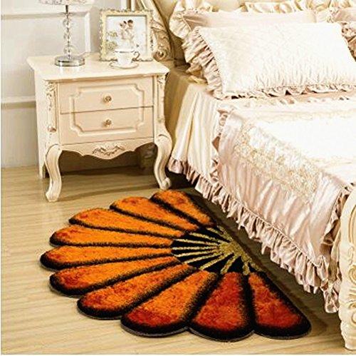 Ustide Modern Floral Rug Orange Half Round Rug for Girls Room 3D Flower Design Rug Soft Shaggy Floor Mat, 31.4
