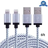 Atill 2 Pack 6FT Lightning Cable Nylon Braided USB Cord Charging Cable For iPhone 6s,6s plus, 6 Plus, 6, iPhone 5 ,5C ,5S,SE, iPad Air, Mini , Mini2, iPad 4, iPod 5,and iPod 7. (White)