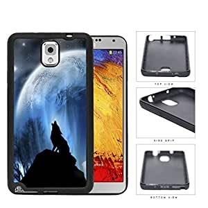 Wolf Howling On Hilltop With Full Moon Rubber Silicone TPU Cell Phone Case Samsung Galaxy Note 3 III N9000 N9002 N9005