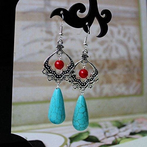 Yunnan Nationalities turquoise earrings exaggerated long section of the Chinese wind retro Tibetan silver jewelry ancient silver earrings earrings women girls 244