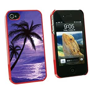 Graphics and More Palm Trees And Sunset Purple - Beach Tropical Ocean - Snap On Hard Protective Case for Apple iPhone 6 4.7 - Red - Carrying Case - Non-Retail Packaging - Red