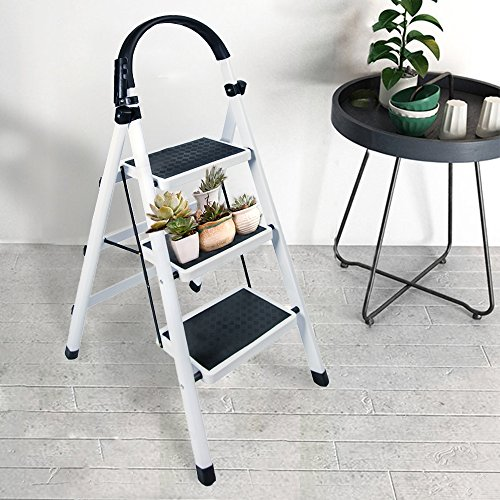Gimify 3 Step Ladder Household Folding Steel Frame Stool Platform Ladder Anti-Slip Portable White (3 Step) by Gimify (Image #1)