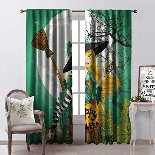 Hengshu Witch Room Darkening Wide Curtains Cheerful Smiling Girl in Halloween Costume on a Pumpkin Giant Moon Woodland Waterproof Window Curtain W84 x L108 Sea Green Multicolor -
