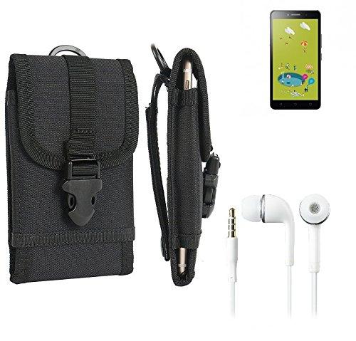 bolsa del cinturón / funda para Alcatel Pixi 4 (6 Zoll) 3G 8 GB, negro + Auriculares | caja del teléfono cubierta protectora bolso - K-S-Trade (TM)