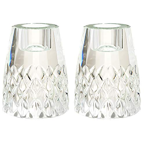 DONOUCLS Crystal Tealight Candle Holder Pack of 2 for Home Party Dinner Suitable for Long Pole or Threaded Candles Hand-Cut 2.5x3.5in ()