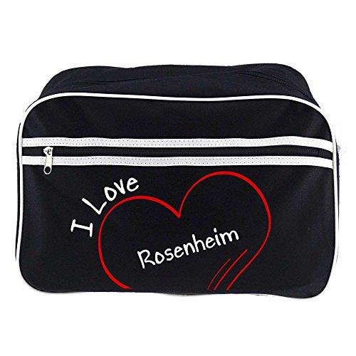 Retrotasche Modern I Love Rosenheim schwarz