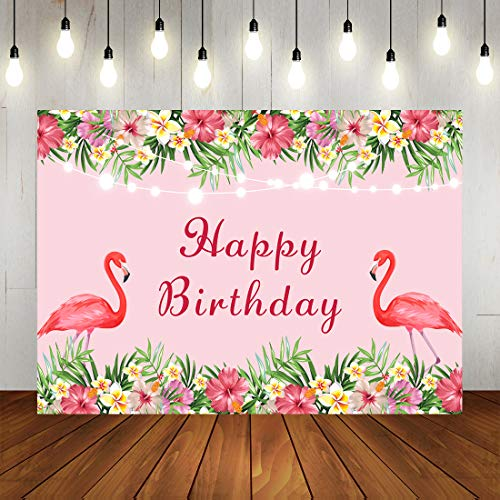 Pink Let's Flamingle Happy Birthday Party Backdrop Summer Tropical Hawaiin Flamingo Birthday Phtogrphy Background Topical Floral and Lights Flmingo Theme Party Decorations Banner 7X5ft ()
