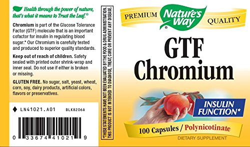 Natures Way Gtf Chromium Insulin Function Polynicotinate, 100 Vcaps, 100 Count